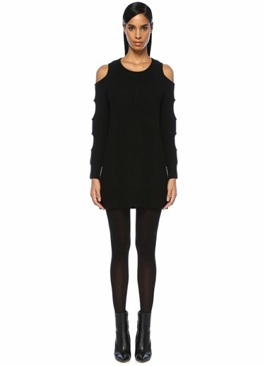 Zoe Morgan Kolları Dekolteli Mini Triko Elbise Siyah